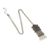 FOREVER 21 Fringed Pendant Necklace Burn.S/Black One
