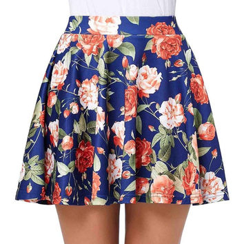 Women Print Skirts 2017 High Waist Rockabilly Skirt Sexy Key Hole aline Hips-Wrapped Womens Retro Vintage Mini Floral Skirt