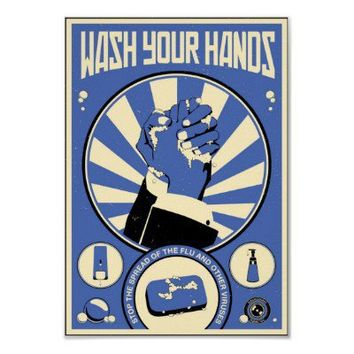 Office Propaganda: Wash your hands (blue) Posters from Zazzle.com