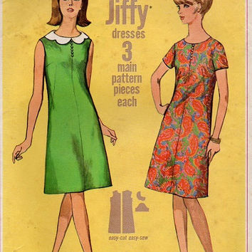 Retro Mod Basic Jiffy Simplicity Sewing Pattern 60s Dress A-line High Neckline Scalloped Collar Sleeveless Dart Fitted Bust 32