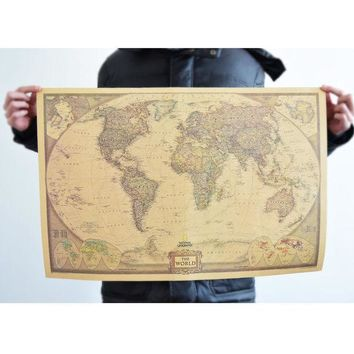 VONEC4W Living Room World Map Leather Sea Wall Sticker [9576040527]