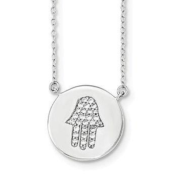 Amanda Rose Sterling Silver Cubic Zirconia Hamsa Necklace with  16-18 in. Adjustable Chain