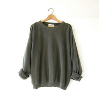 vintage army green sweater. oversized pullover sweater. slouchy boyfriend sweater. men's cotton sweater
