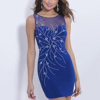 Black by Blush C162 - Cobalt Fitted Sheer Short Prom Dresses Online
