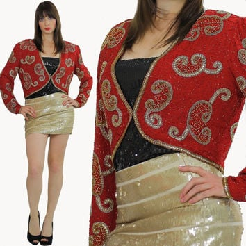 Sequin beaded jacket Boho beaded jacket Beaded bolero jacket Deco sequin jacket Gatsby dress jacket Red sequin jacket Beaded shrug jacket M