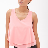FOREVER 21 Woven Flounce Tank Coral