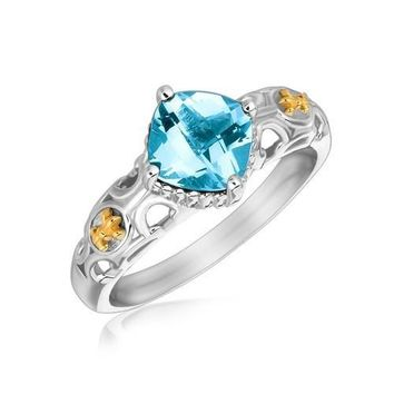 18k Yellow Gold and Sterling Silver Blue Topaz Ring with Fleur De Lis Accents, size 8