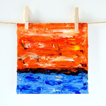 Original Acrylic Abstract, Fine Art Card, Modern Painting, Pallet Knife Art, Orange and Blue Gift Idea