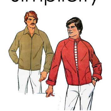Vintage 1970s Men's Member's Only Style Jacket Sewing Pattern Simplicity 8358 Mandarin Wide Collar Chest 34-36/42-44 UNCUT