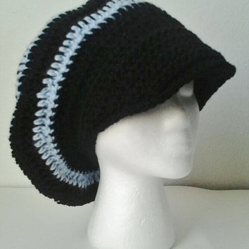 Crocheted Oversized Black & Light Blue Striped Brimmed Slouchy Beret/Hat