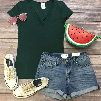 Goes With Everything V-Neck Top: Green