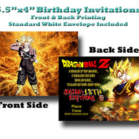 5.5x4 Custom Designed and Printed Birthday Invitations Full color print front and back Dragon Ball Z Theme