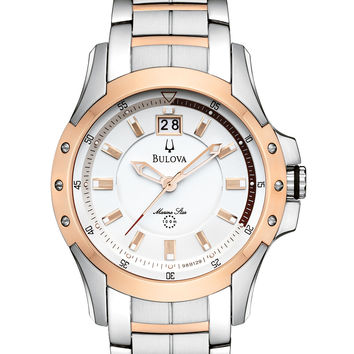 Bulova Men's Marine Star Two Tone Rose Gold Watch 98B129