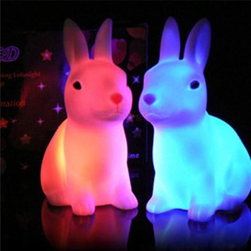 White Battery Rabbit LED Colorful Changing Colour Cute Bunny Night Light Lamp Home Party Decor Kids Gift Hot Sale