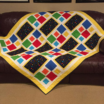 quilt, quilts for sale, patchwork quilt, custom blankets - Arcade Gaming Theme