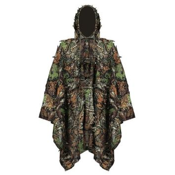 New Hunting clothes New 3D maple leaf Bionic Ghillie Suits Yowie sniper birdwatch airsoft Camouflage Clothing Long jacket