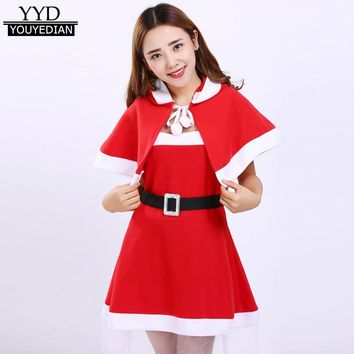 Women Santa Claus Cosplay Christmas Clothes Costume Party Cosplay Outfit Fancy Dress Set Plus Size S-3XL #1109