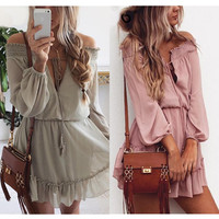 Ruffle Chiffon Off Shoulder Mini Dress Summer Beach Dress Summer Causul Women Boho Long Sleeve Solid Color