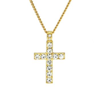 Hip Hop Men Jewelry Bling Rhinestone Crystal Cross Pendant Necklace