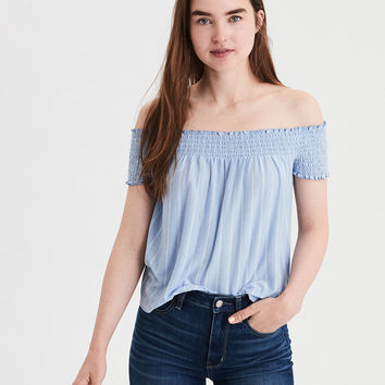 AE Soft & Sexy Smocked Off-The-Shoulder Top, Light Blue