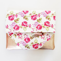 FLORIST 29 / Floral cotton & Natural leather folded clutch - Ready to Ship