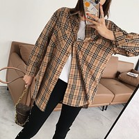 Women All-match Casual Classic Multicolor Tartan  Long Sleeve Lapel Shirt Cardigan Coat