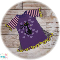 "Girls size 3T/4T  Upcycled GUC Black Cat T- Shirt Dress 11.5"" x 21"""