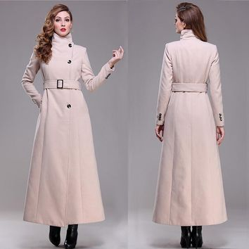 casaco good quality 2017 brand new autumn winter overcoat warm elegent long maxi wool coat women fashion winter coat
