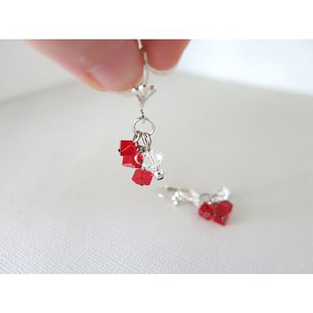Siam Red Swarovski Dice Crystal Cluster Staircase with Silver Plated Leaverback Earwires