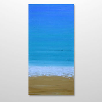 Large 18 x 36 Abstract Beach Textured Painting - Original Canvas Acrylic Ocean Shabby Chic Art - Yellow, Turquoise, Blue - Vertical