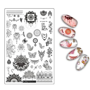 Flower Leaf Butterfly Floral Butterfly Pattern Nail Art Stamping Plate New Arrival Mandala Series DIY Manicure Template Stencil