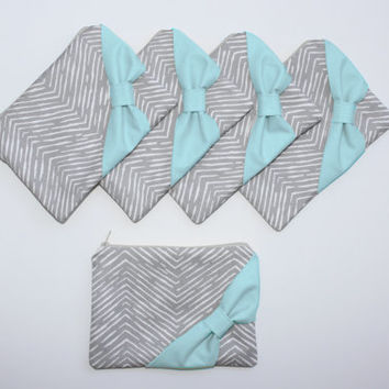 Bridesmaid Gift Bag Set / Bachelorette Party Favors - New Gray Chevron Aqua Bow - Customizable Wedding Cases - Choose Quantity and Bow Style