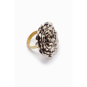 Large Silver Rose Gold Statement Ring