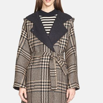 Women's Max Mara 'Alcool' Reversible Wool & Alpaca Hooded Coat with Genuine Mink Trim,