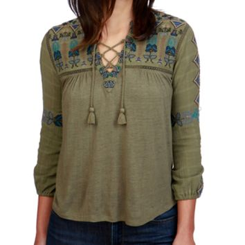 Lucky Brand Lace Up Embroideed Top Olive Night
