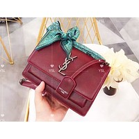 YSL sells fashionable casual lady's pure color with silk scarf shopping shoulder bag Burgundy