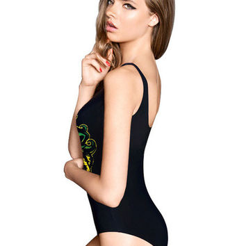Backless Lion Print Spandex Swimwear