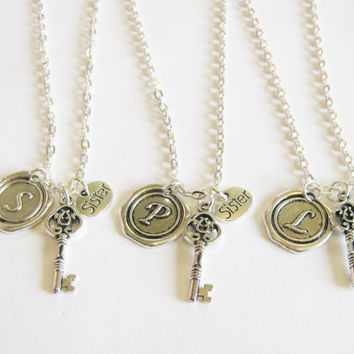 3 Sisters Are The Key To My Heart Wax Seal Initial  Bff Necklaces