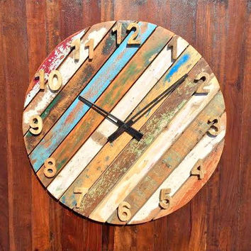 Rustic & Antique Non-Ticking Round Wall Clock of Reclaimed Wood