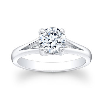 Women's 14 kt white gold Split band engagement ring with 2 ct Round White Sapphire