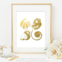 SEASHELL COLLAGE Faux Gold Foil Art Print