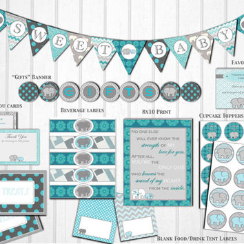 Gray Teal Elephant Baby Shower Decorations Printable DIY In