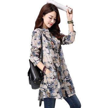 Women Tops 2018 New spring Casual Printed Blusas Cotton Linen Long Sleeve Women Blouses Vintage Shirt Long Tunic Tops for Women