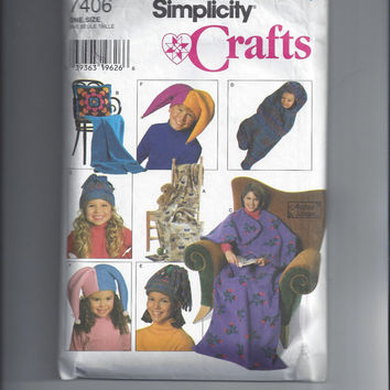 Simplicity 7406 Pattern for Fleece Sitting Bag, Stadium Tote, Pillow Blanket, Baby Bunting, & Hats, From 1996, UNCUT, Andrea Schewe Design