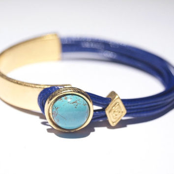 Turquoise Stone Gold Wrap, Cuff Bracelet with Dark Blue