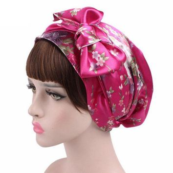 DCCKU7Q Women Printed Hat Bowknot Cancer Chemo Hat Beanie Turban Head Wrap Cap Knitted Hats gorros feminino Touca 9 Colors