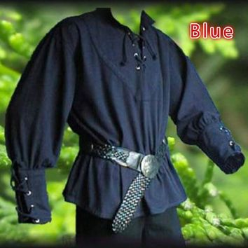 Men's Medieval  Lace-up Men Shirts Pirate Reenactment - Performance & Stage Wear