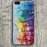 watercolor Rainbow tree colorful iphone 6 6 plus iPhone 5 5S 5C case Samsung S3,S4,S5 case Ipod Silicone plastic Phone cover Waterproof