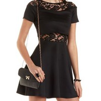 Lace & Scuba Knit Layered Skater Dress by Charlotte Russe - Black