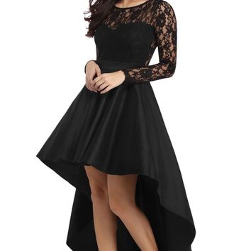 Adogirl Black Long Sleeve Lace High Low Satin Dress Sexy Elegant Maxi Evening Party Dresses Social Event Red Carpet Vestidos
